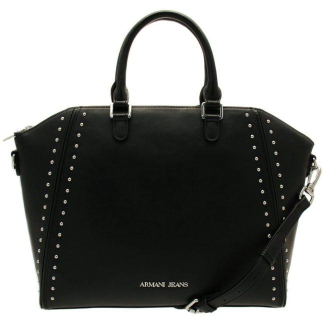 Womens Black Large Studded Tote Bag