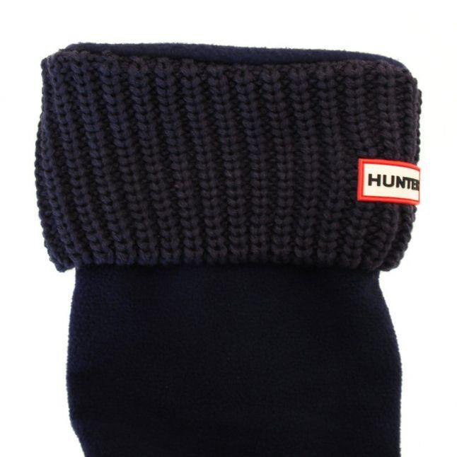 Womens Bright Navy Tall Half Cardy Stitch Wellington Socks