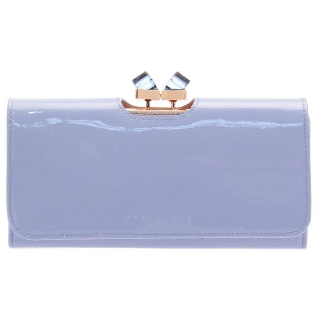 Womens Powder Blue Missti Patent Crystal Frame Matinee Purse