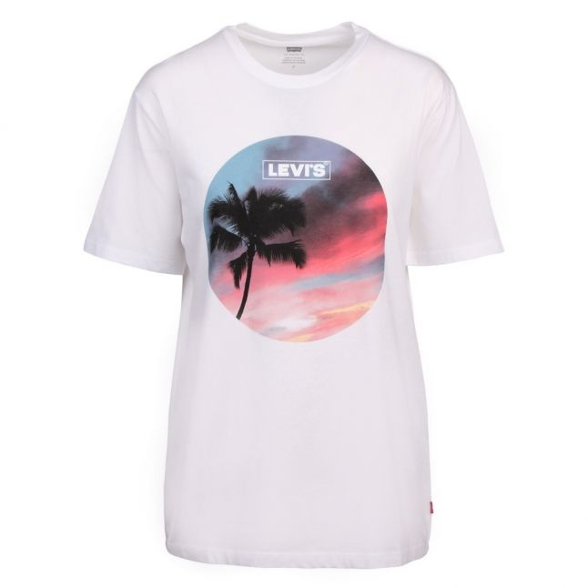 Womens White Graphic Palm Tree S/s T Shirt