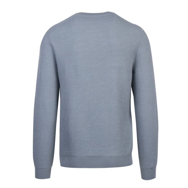 Mens Mid Blue Seer Textured Crew Knitted Jumper