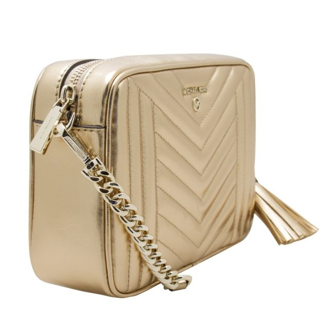 Womens Pale Gold Jet Set Quilted Camera Bag