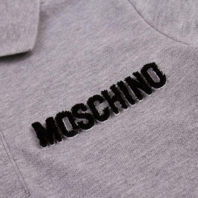 Boys Grey Marl Raised Logo S/s Polo Shirt