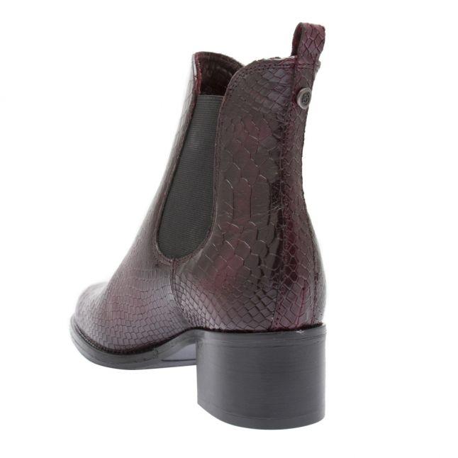 Womens Burgundy Colido Croc Heel Boots