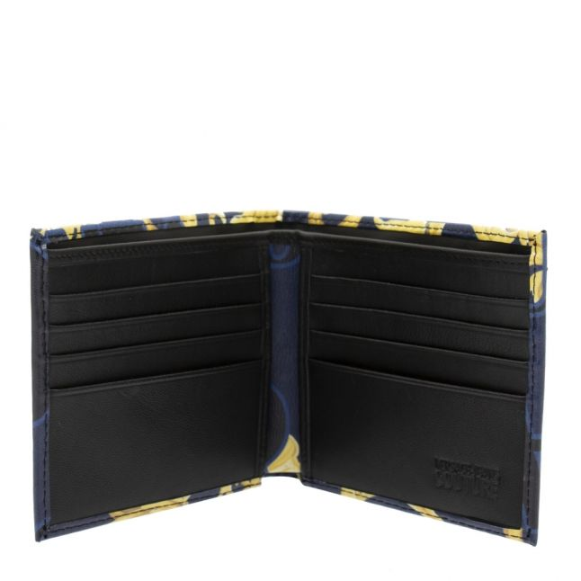 Mens Dark Blue Baroque Logo Bifold Wallet