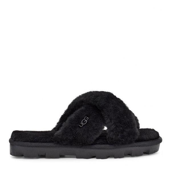 Womens Black Fuzzette Slide Slippers