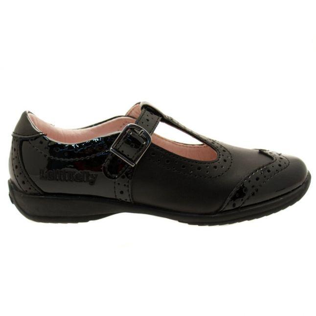 Girls Black Leather & Patent Jennette T-Bar F-Fit Shoes (25-35)