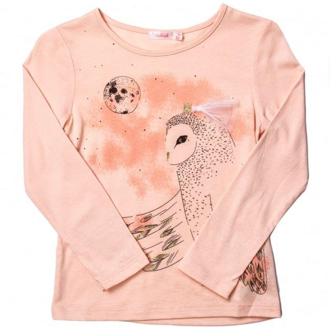 Girls Pink Owl L/s Tee Shirt