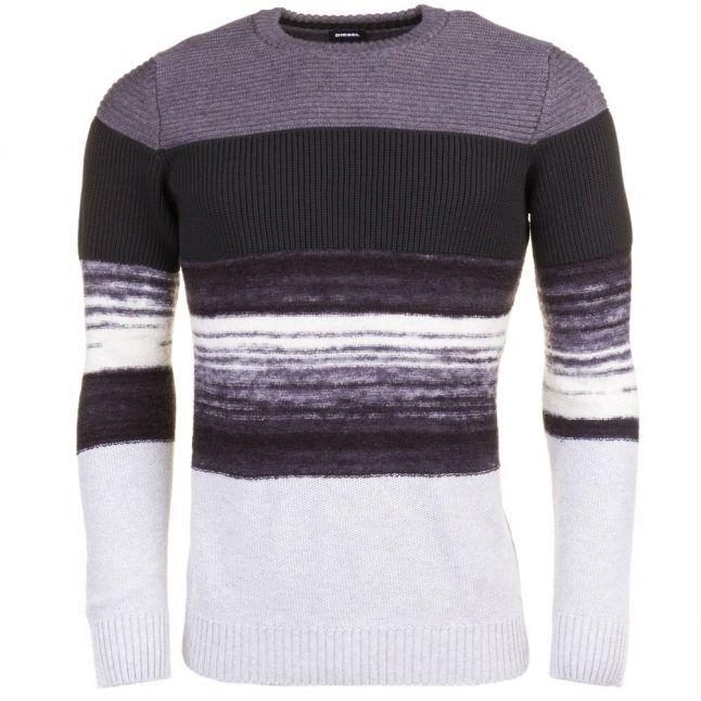 Mens Grey K-Baccanalis Stripe Knitted Jumper