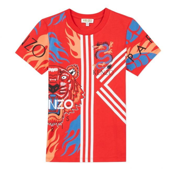 Boys Red Jepepe Tiger Dragon Mix S/s T Shirt
