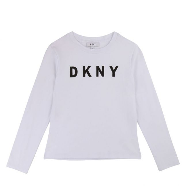 Girls White Shiny Logo L/s T Shirt