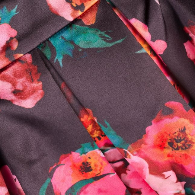 Womens Black Multi Allegro Poppy Satin Flared Skirt