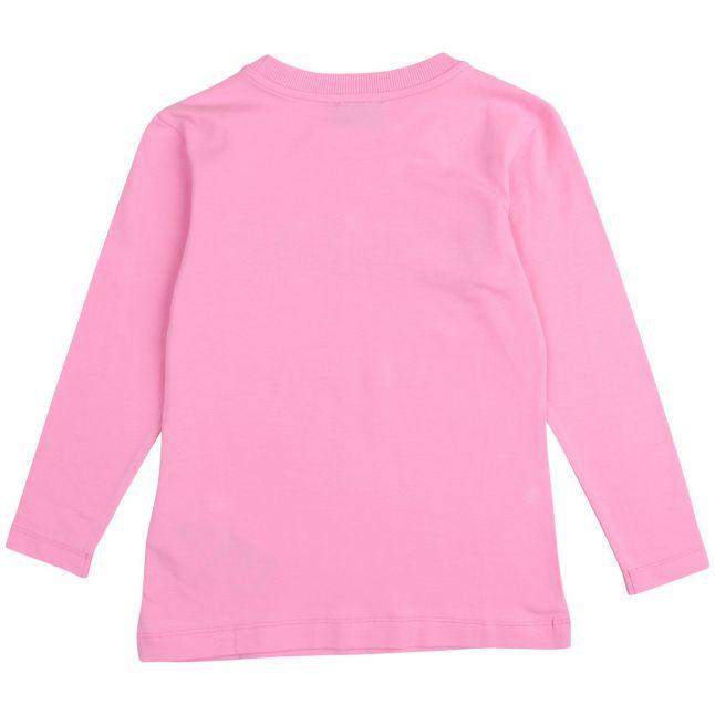 Moschino Girls Sweet Pink Iridescent Logo L/s T Shirt