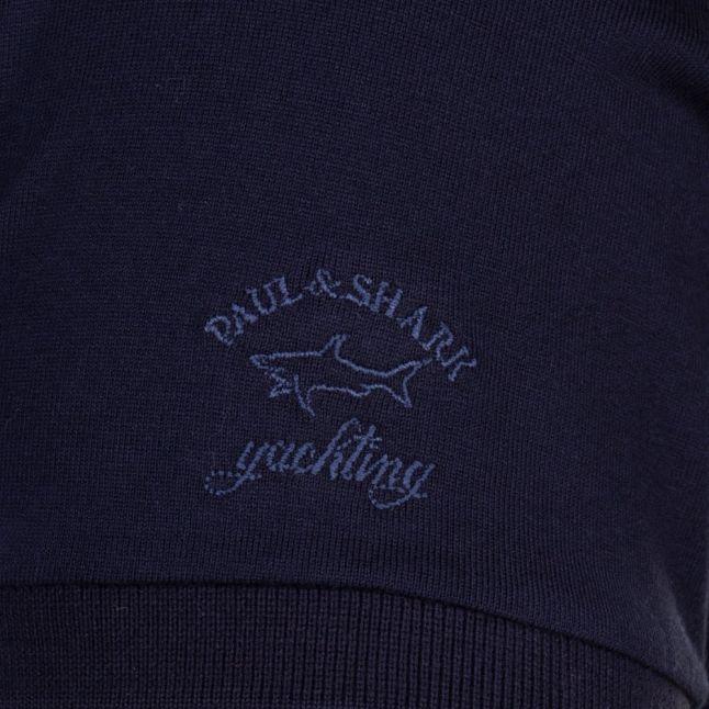 Paul & Shark Mens Navy Stripe Print Shark Fit S/s Tee Shirt
