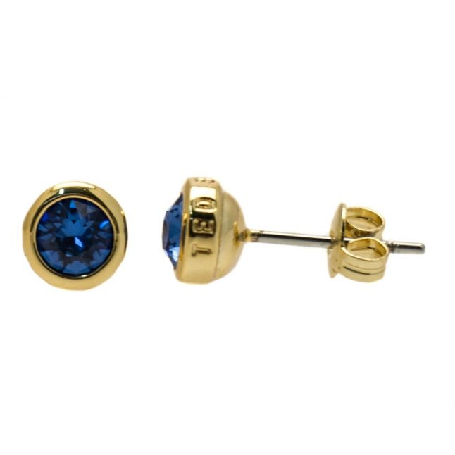 Womens Gold & Sapphire Sinaa Crystal Studs