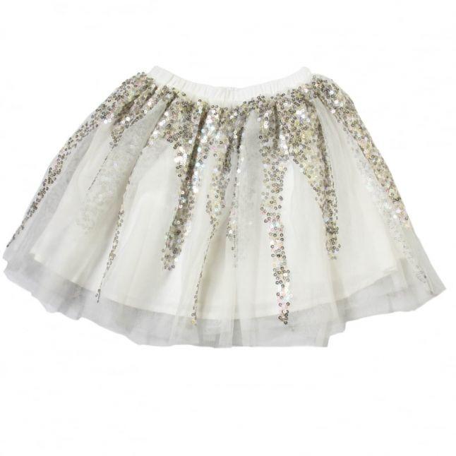 Girls White Sequin Skirt