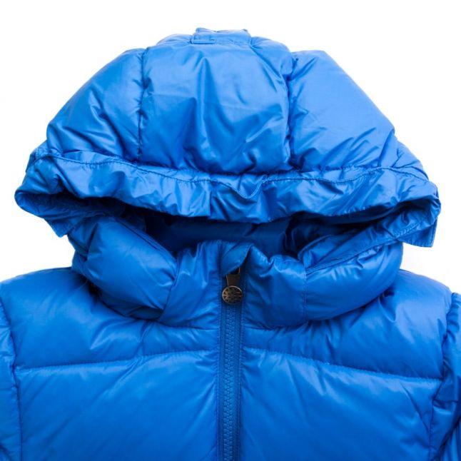 Boys Cyan Authentic Fur Hooded Matte Jacket