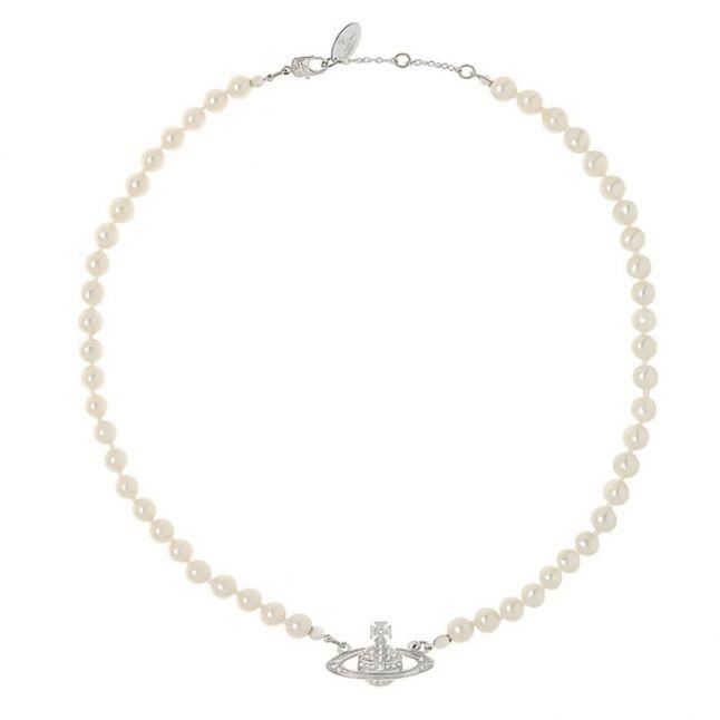 Womens Ivory & Silver Mini Bas Relief Choker