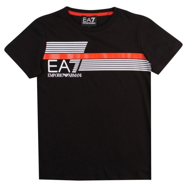 Boys Black Train 7 Lines S/s T Shirt