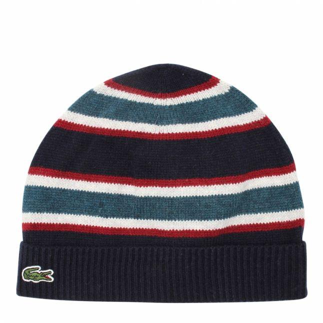 Boys Navy/Green Knitted Stripe Hat
