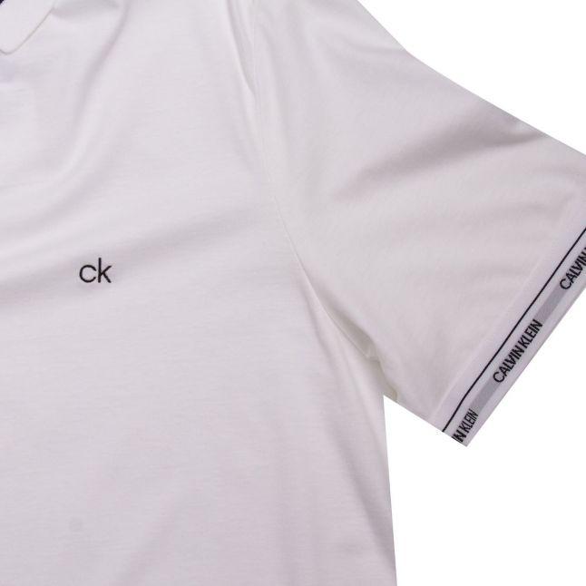 Calvin Klein Mens Bright White Liquid Touch Logo Cuff S/s Polo Shirt