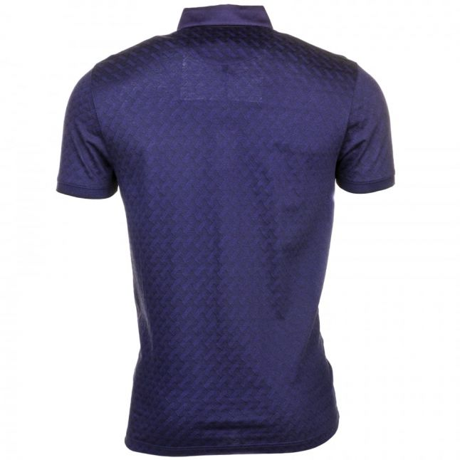 Mens Navy Serge Jacquard S/s Polo Shirt