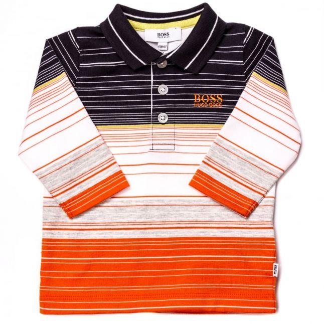 Baby Orange Mixed Stripe L/s Polo Shirt