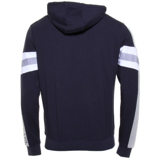 Mens Blue Marine Silver Label Logo Hooded Sweat Top