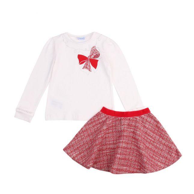Girls Red Plaid Skirt & L/s T Shirt Set