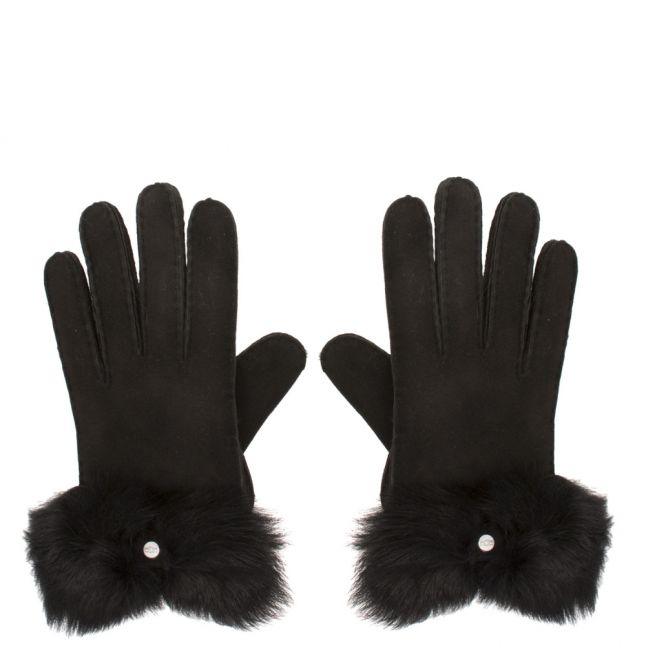 Womens Black Long Pile Bow Gloves