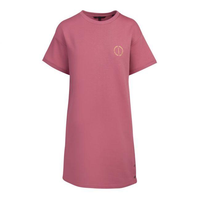 Womens Dusky Pink Gold Foil Logo T Shirt Dress