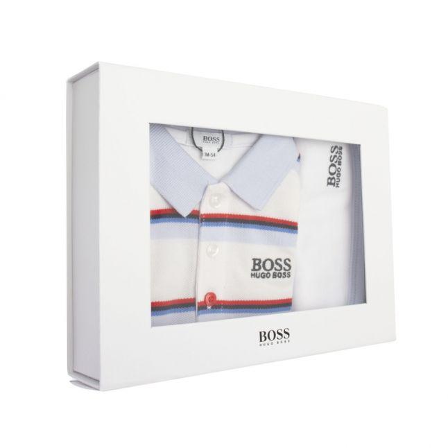 Baby White Stripe Polo Romper & Bib Set