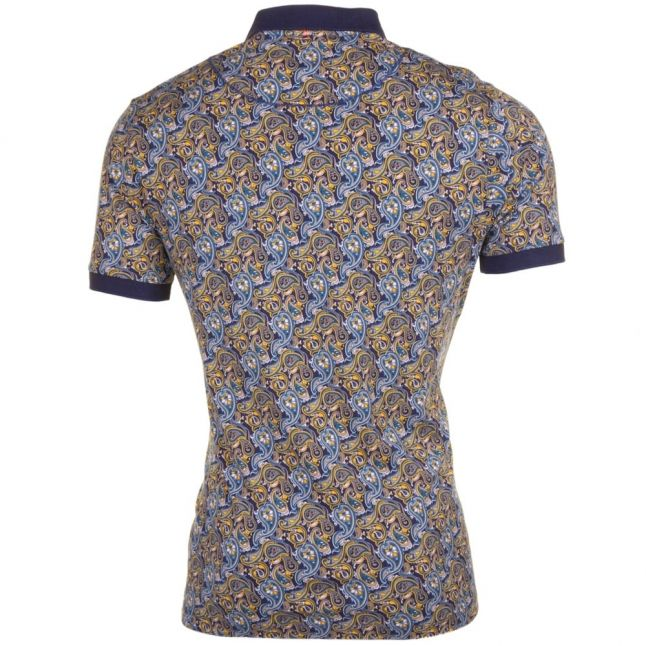 Mens Navy Stretford Aop S/s Polo Shirt
