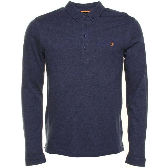 Mens Dusky Blue Marl Merriweather L/s Polo Shirt