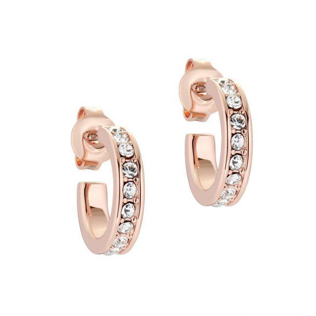 Womens Rose Gold/Crystal Seenita Nano Hoop Huggie
