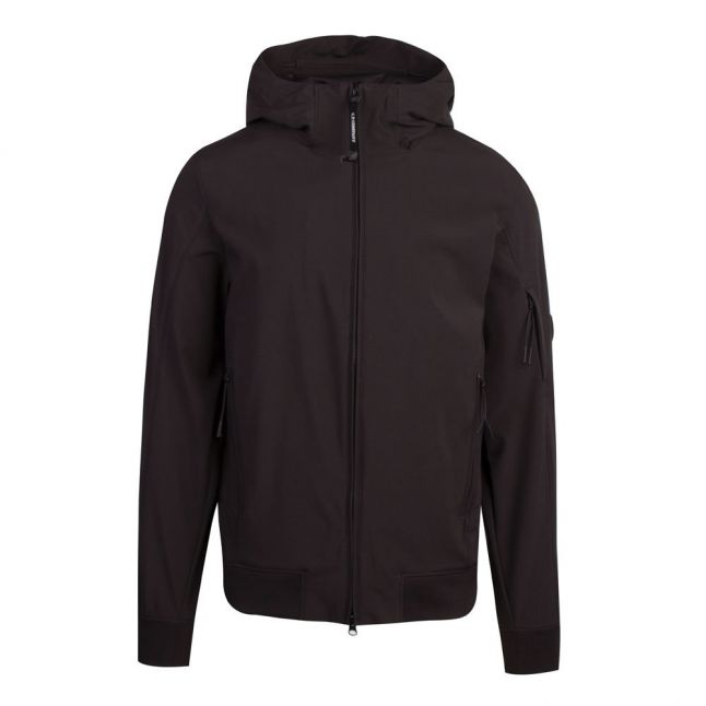 Mens Black Lens Soft Shell Hooded Jacket