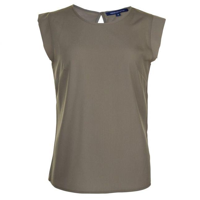 Womens Burnt Olive Classic Crepe Cap Sleeve Tee Shirt