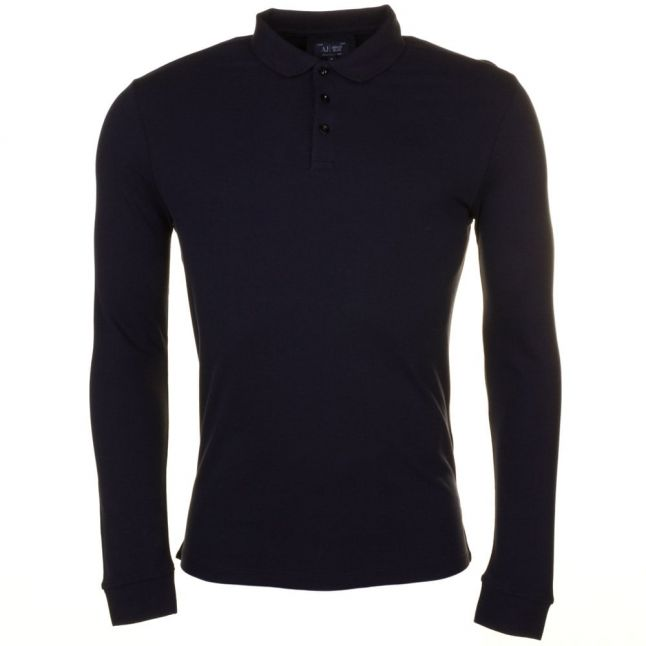 Mens Blue Regular Fit L/s Polo Shirt