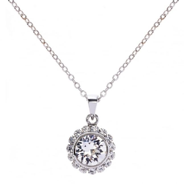 Womens Silver Sela Crystal Pendant Necklace