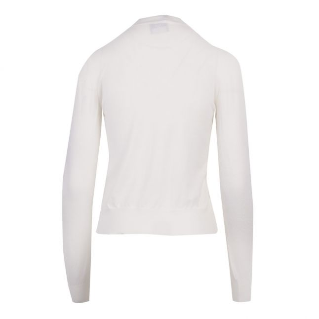 Womens White Merino Knot Front Knitted Jumper