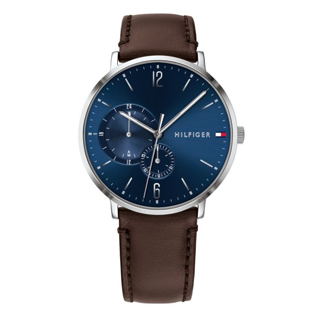 Mens Silver/Brown/Blue Leather Watch