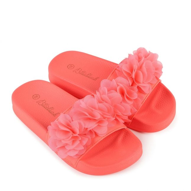 Girls Pink Fluoro Pleated Flower Slides (27-37)