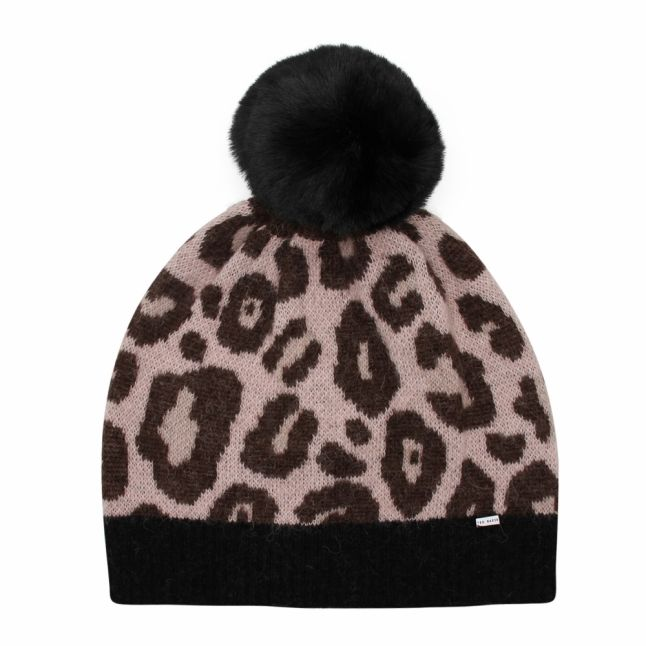 Womens Pale Pink Hynie Animal Bobble Hat