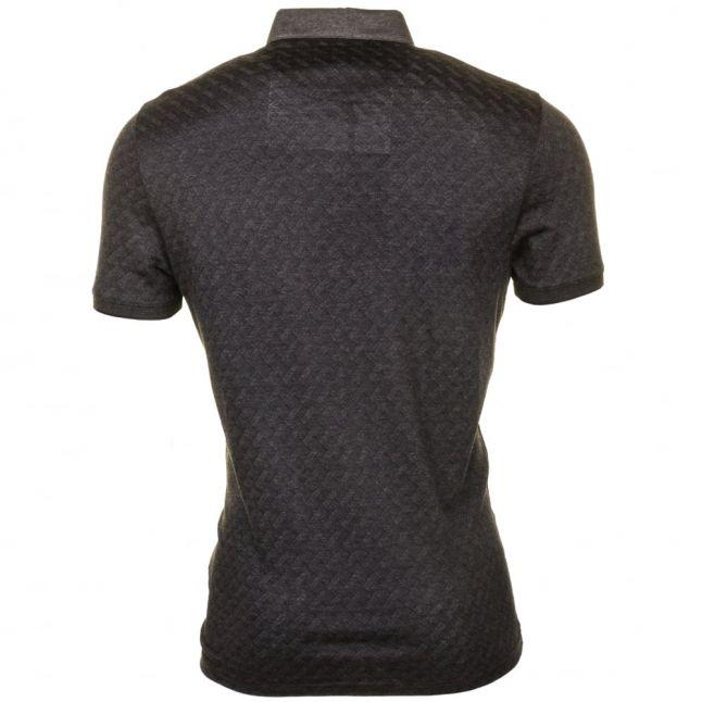 Mens Charcoal Serge Jacquard S/s Polo Shirt
