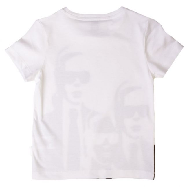 Boys White Karl Print S/s Tee Shirt