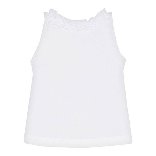 Girls White Tucan Frill Tank Top