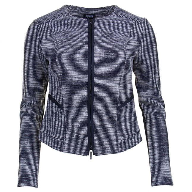 Womens Blue Textured Jacket