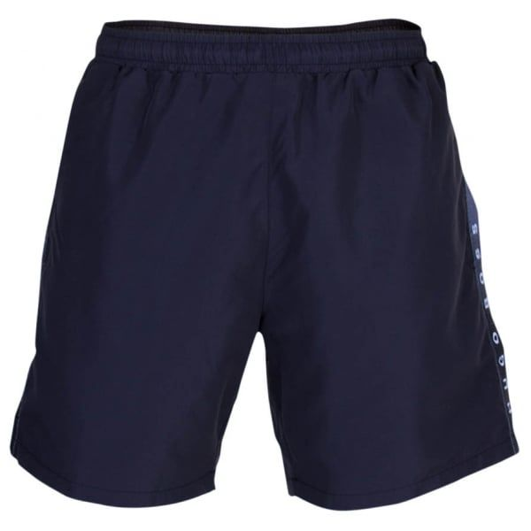 Mens Black Seabream Taped Logo Swim Shorts