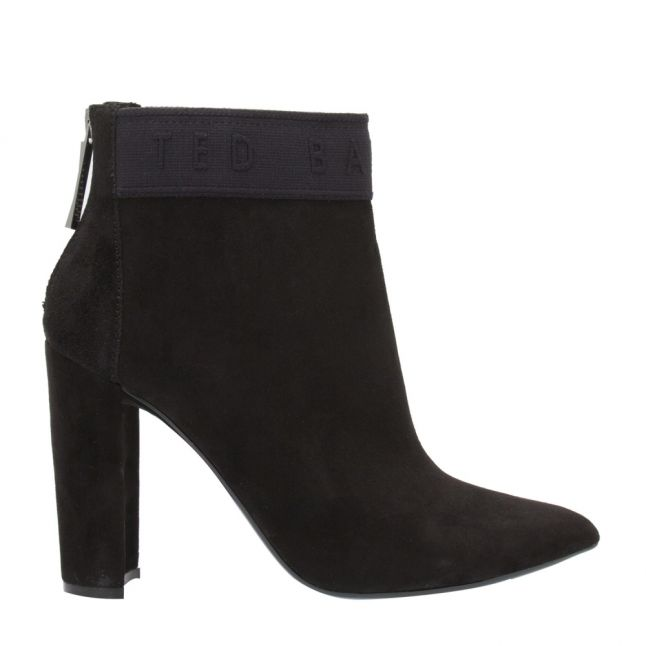 Womens Black Prenom Logo Suede Heel Boots