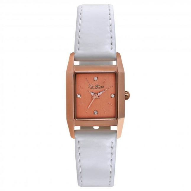 Womens Rose Gold Dial White Leather Strap Watch